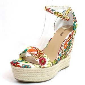 8064c0e5adb BAMBOO Shoes - Open Toe Embroidered Espadrille Wedge